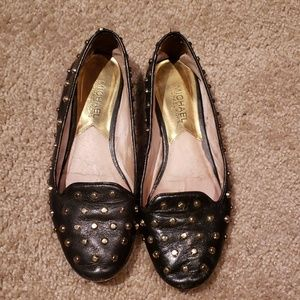 Michael Kors Gold Studded Blk Leather Loafers 6.5